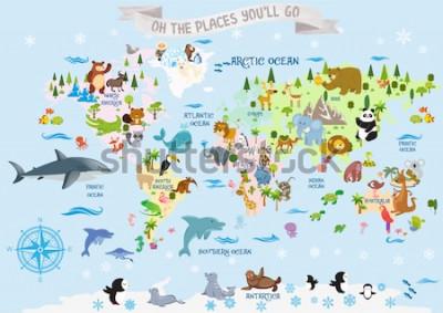 Наклейка Карта мира с животными / О, куда вы пойдете