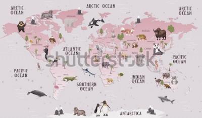 Наклейка Карта мира животных для детей дизайн обоев