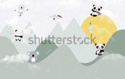 Наклейка Симпатичные коалы и панды играют в горах
