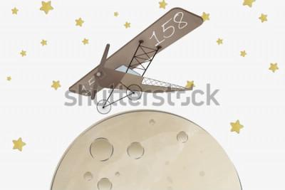 Наклейка Дизайн обоев для детской комнаты Biplane и Moon