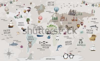 Наклейка Animals world map for kids wallpaper design