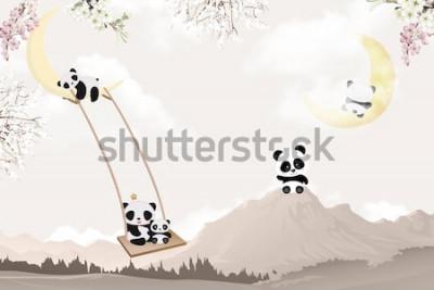 Наклейка cute pandas playing kids room wallpaper design