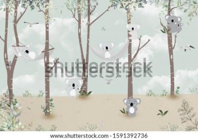 Наклейка Cute koalas playing in the jungle