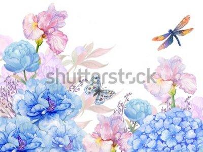 Наклейка floral background .illustration of watercolor. flowers peonies, irises, hydrangeas,butterflies and dragonflies . postcard floral pattern
