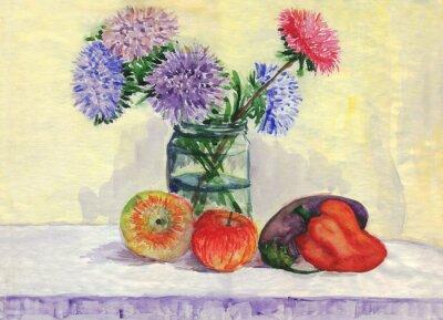 Наклейка Натюрморт. Букет из астры, яблоки, перец, баклажаны. Акварельная живопись