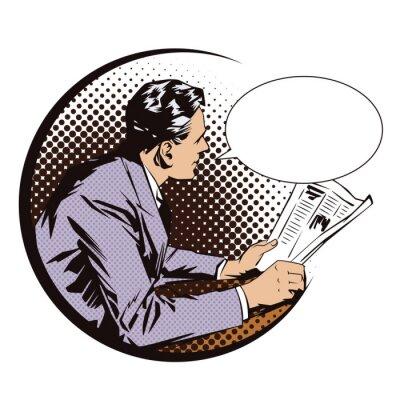 Наклейка Иллюстрации. Люди в ретро-стиле поп-арт и старинные рекламы. Мужчины с газетой. Диалоговое окно.