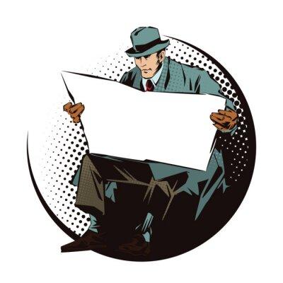 Наклейка Иллюстрации. Люди в ретро-стиле поп-арт и старинные рекламы. Сидящий мужчина с газетой. Газета для вашего текста.