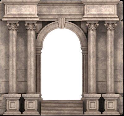 Наклейка Каменные лестницы и способ записи С коринфскими колоннами. 3d визуализации.