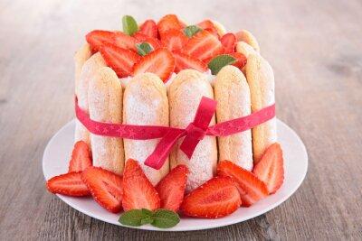 Наклейка клубничный торт шарлотка