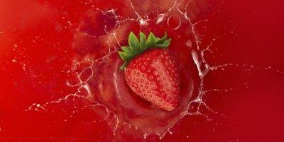 Наклейка клубника брызг в красный сок жидкости