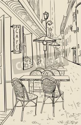 Наклейка Уличное кафе в старом городе эскиз иллюстрации.