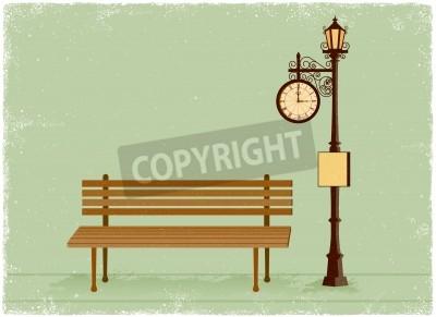 Наклейка Уличные часы и фонарный столб с скамейке в парке в старинных векторного стиле