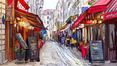 Наклейка Улица в Париже - иллюстрация