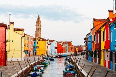 Наклейка Уличная сцена в Бурано Италии