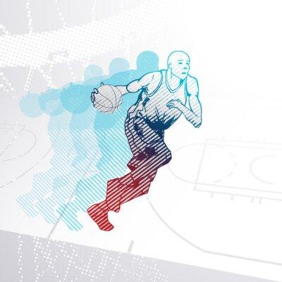 Наклейка Стилизованный Баскетболист дриблинг мяч