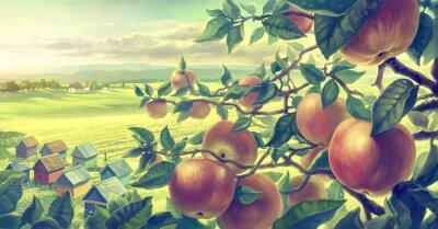 Наклейка Летний пейзаж с яблоком отраслей. Цифровой краски.