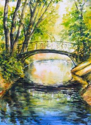 Наклейка Летний пейзаж с моста через реку в park.Picture создан с акварелью.