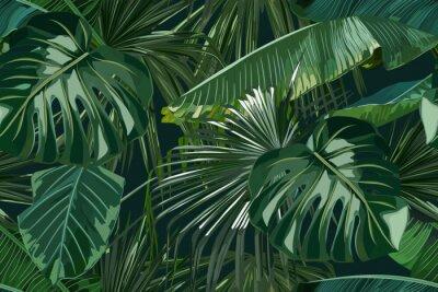 Наклейка Summer seamless pattern with tropical palm leaves. Jungle fashion print. Hawaiian background. Vector illustration