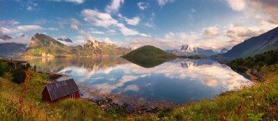 Наклейка Летний закат панорама Лофотенских островов, Норвегия