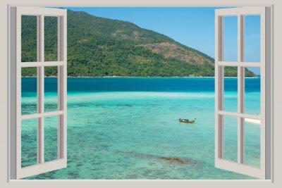 Наклейка Лето, путешествия, отдых и концепция отдыха - Открытое окно,