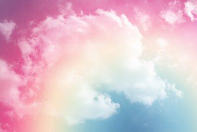 Наклейка солнце и облачный фон с пастелью