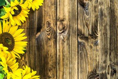Наклейка Подсолнухи на деревенском фоне дерева. Цветы фоны с копией пространства