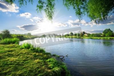 Наклейка Солнечный день на спокойной реки летом