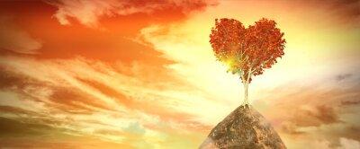 Наклейка закат с деревом сердца