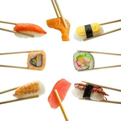 Наклейка суши в палочками на белом фоне