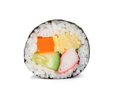 Наклейка суши ролл, изолированных на белом фоне.