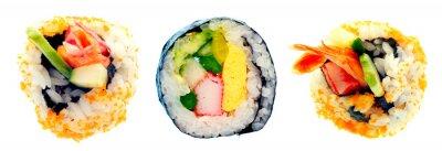 Наклейка Суши-ролл с рисом на белом фоне