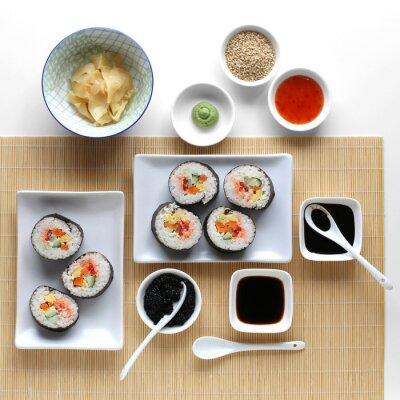Наклейка Суши-роллы, соевый соус, имбирь и васаби
