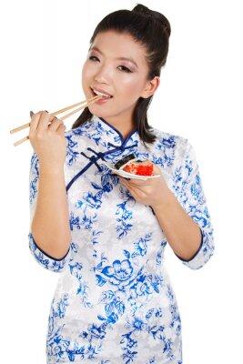 Наклейка Суши женщина суши с палочками для еды