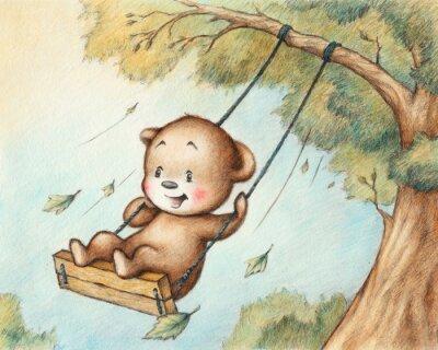 Наклейка Размахивая Медвежонок