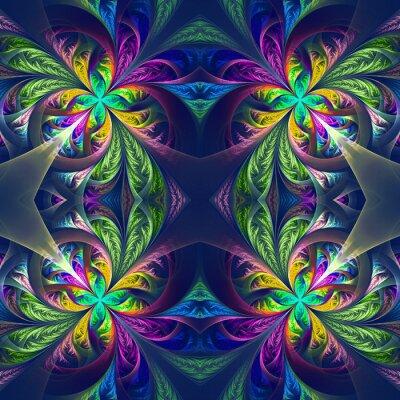 Наклейка Симметричный разноцветные фрактальной ажурный. Коллекция - морозный PATT