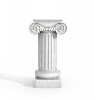 Наклейка Высокий дорического Столб Колонка Изолированные на белом фоне. Пьедестал.
