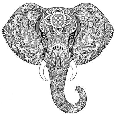 Наклейка Татуировка слон с узорами и орнаментами