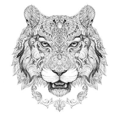 Наклейка Татуировка, графика глава тигра