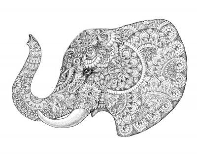 Наклейка Профиль татуировки слон с узорами и орнаментами