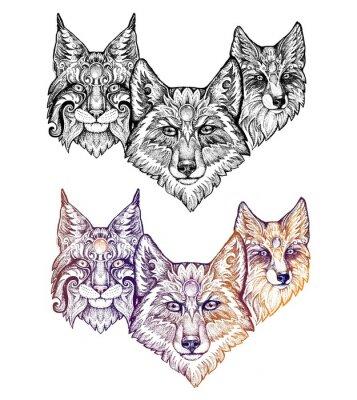 Наклейка Татуировки. Волк, рысь, лисица
