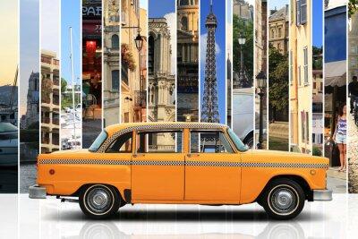 Наклейка Такси, ретро автомобиль оранжевый цвет на белом фоне