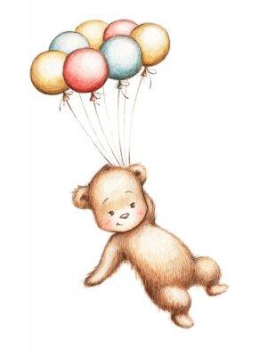 Наклейка Мишка с воздушными шарами