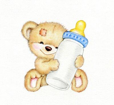 Наклейка Teddy bear with bottle of milk