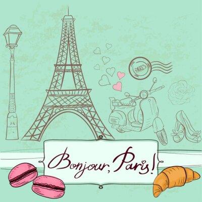 Наклейка Шаблон с Парижем символов