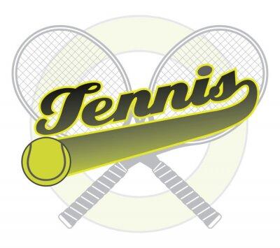 Наклейка Теннис с хвостом Знамени является иллюстрацией теннисный дизайна со словом теннис с хвостовой баннер для вашего собственного текста, теннисный мяч и теннисные ракетки.