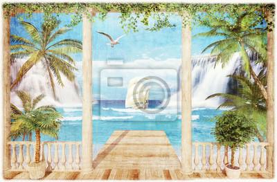Наклейка терраса с видом на море