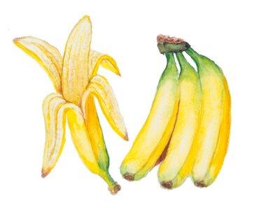 Наклейка банан акварель, изолированных на белом фоне