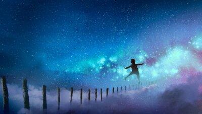Наклейка мальчик, балансирующий на дереве, палки против Млечного Пути со многими звездами, цифровым художественным стилем, иллюстрацией живописи