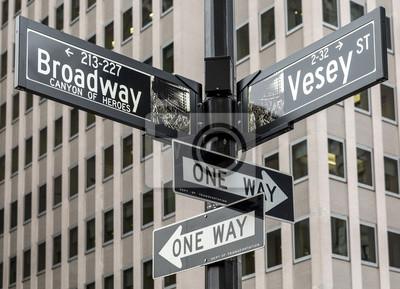 Наклейка Город Нью-Йорк в Манхэттене, США.