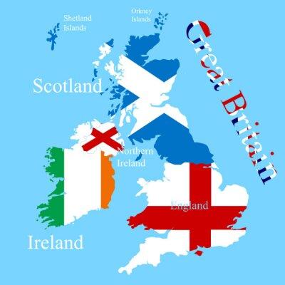 Наклейка Карта Великобритании для каждого флага страны